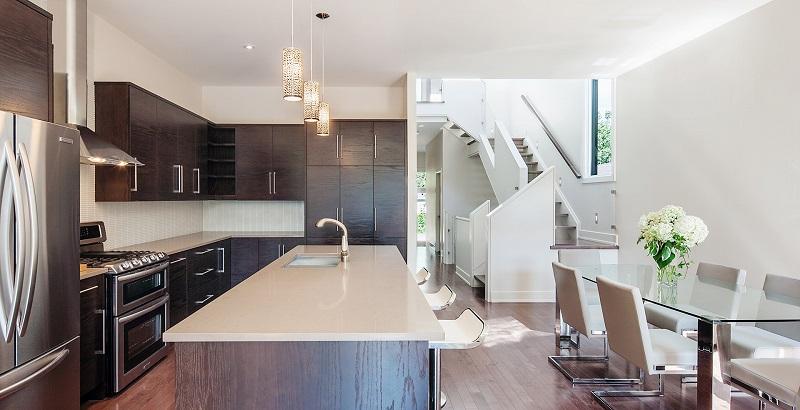 Phòng ăn và bếp trong thiết kế nội thất biệt thự song lập