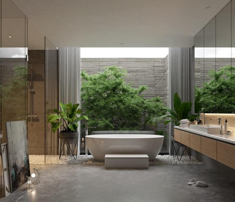 Thiết kế tắm đẹp cho biệt thự hiện đại