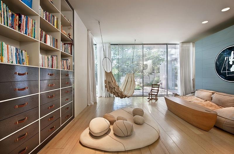 Phòng đọc sách Boho trong thiết kế nội thất biệt thự hiện đại