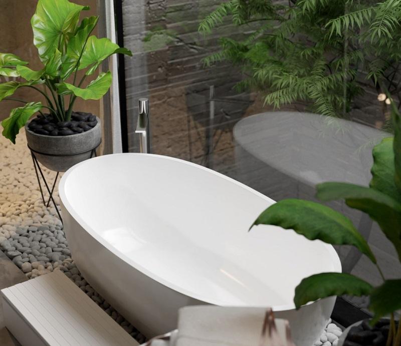 Bồn tắm sứ trong thiết kế tắm đẹp cho biệt thự