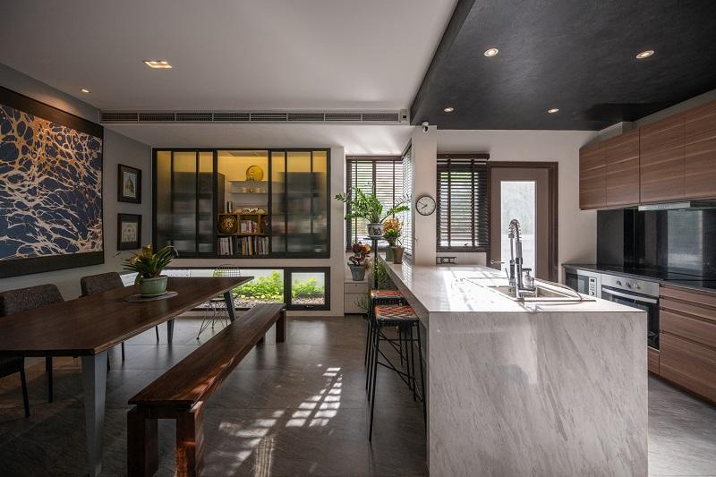 Căn bếp tiện nghi trong thiết kế nội thất biệt thự liền kề