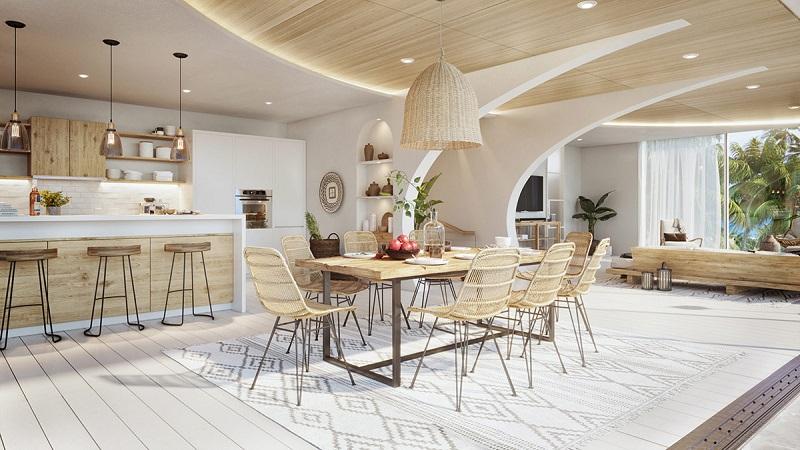 Bàn ghế ăn đan mây trong thiết kế nội thất biệt thự hiện đại