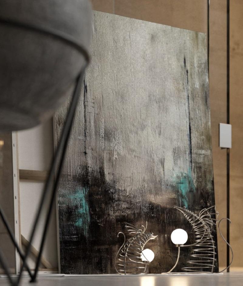 Tranh sơn dầu trừu tượng trong tắm đẹp cho biệt thự