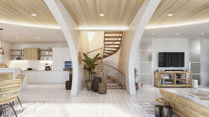 Cầu thang uốn lượn trong thiết kế nội thất biệt thự hiện đại