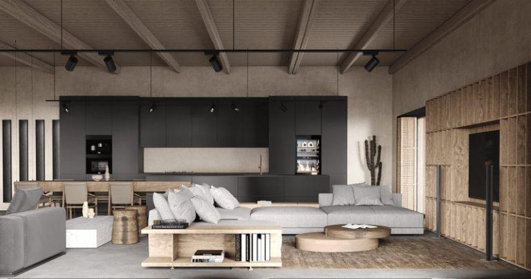 Thiết kế nội thất biệt thự mini phong cách Rustic