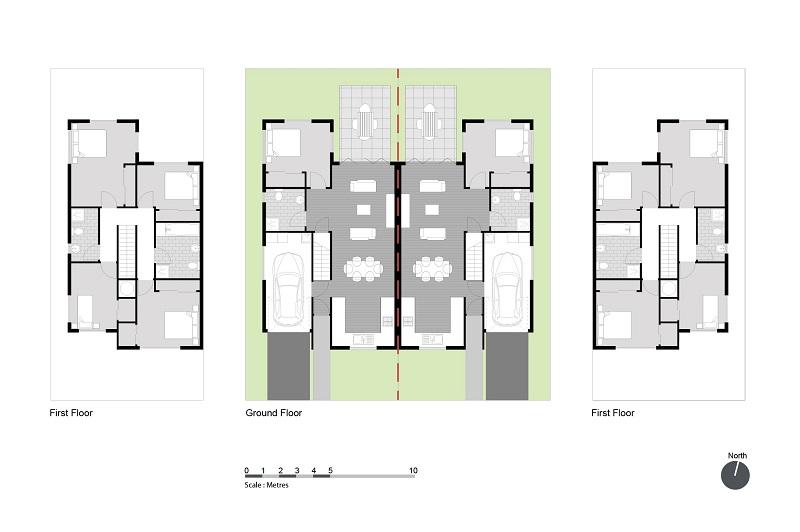 Bản vẽ nội thất bên trong thiết kế nội thất biệt thự song lập