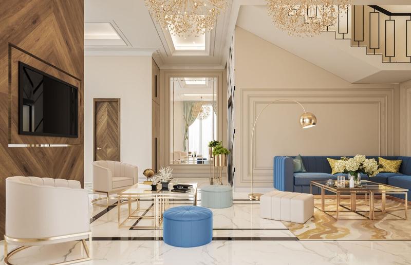 Phòng khách chính của biệt thự
