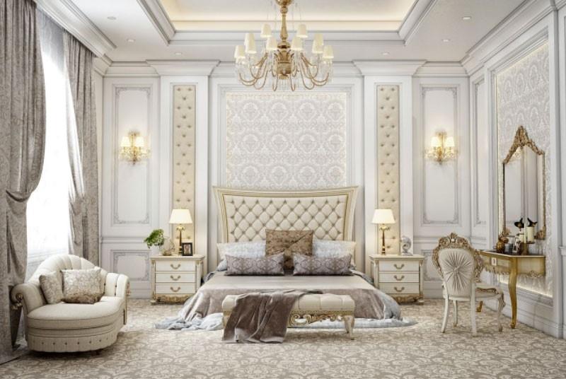 Phòng ngủ Master tông màu be trắng