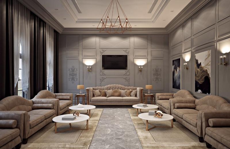 Phòng khách bố trí đơn giản, rộng rãi