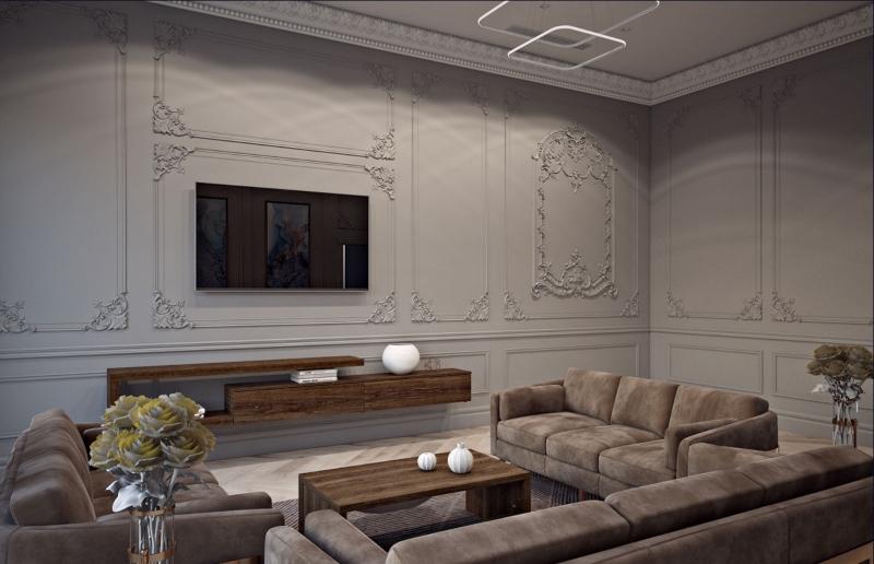 Trang trí tường bằng các hoa văn chạm nổi tinh tế