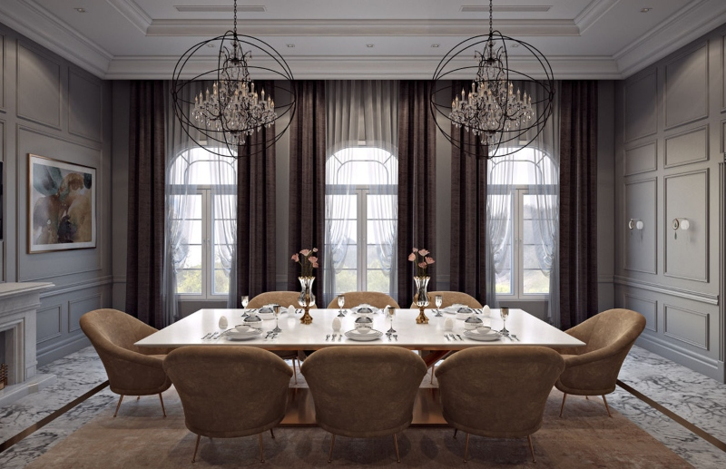 Phòng ăn tông màu nâu ấm cúng