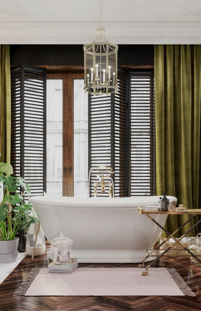 Đèn trần cổ điển trong thiết kế tắm đẹp cho biệt thự