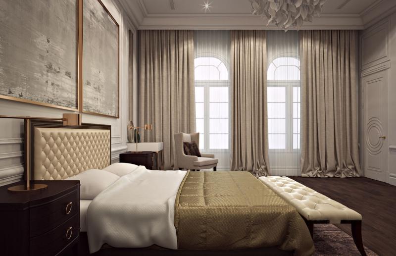 Phòng ngủ phụ tông vàng đồng sang trọng