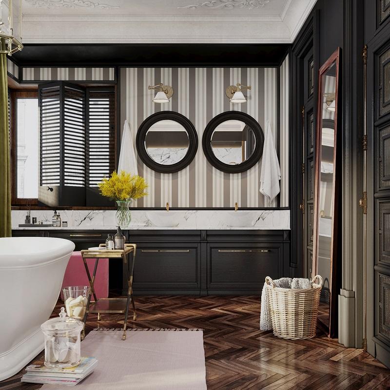 Khu vực tủ lavabo trong tắm đẹp cho biệt thự