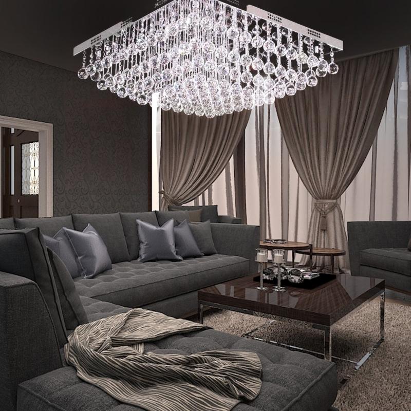 Trang trí phòng khách biệt thự bằng đèn chùm pha lê