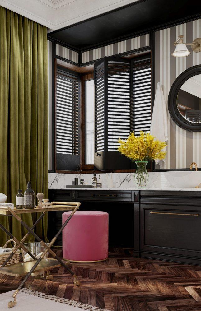 Cửa sổ và bàn trang điểm trong tắm đẹp cho biệt thự