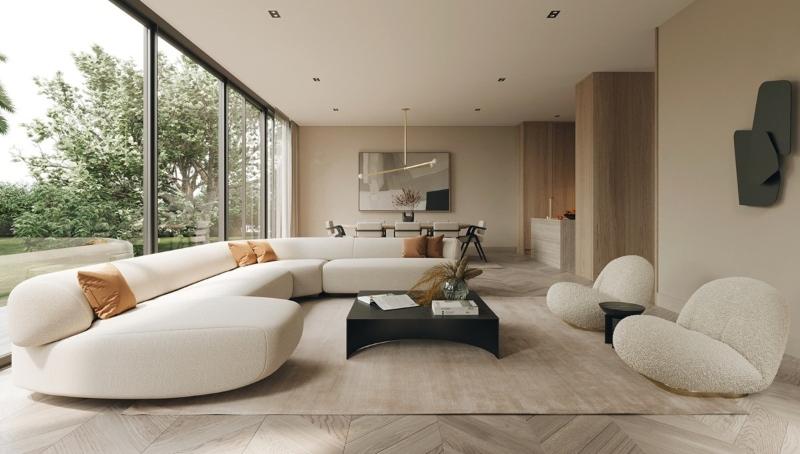 thiết kế nội thất phòng khách biệt thự ấm cúng