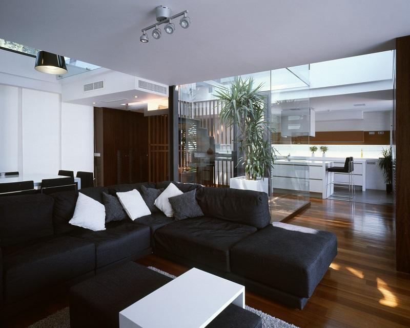 Phòng khách trong thiết kế nội thất biệt thự song lập