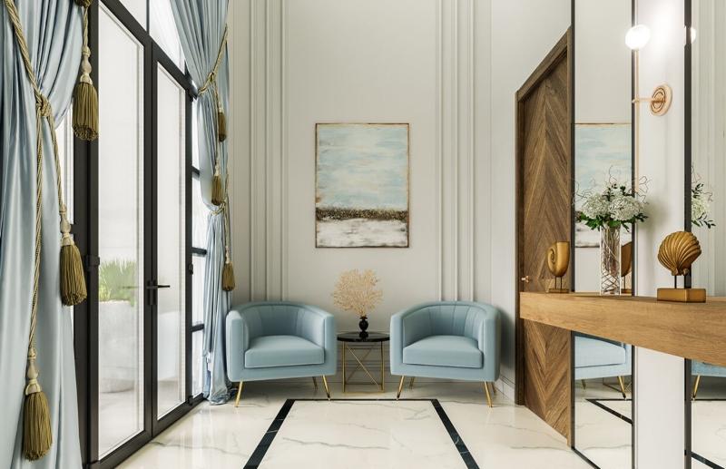 Bố trí ghế bành ngoài hành lang để tắm nắng