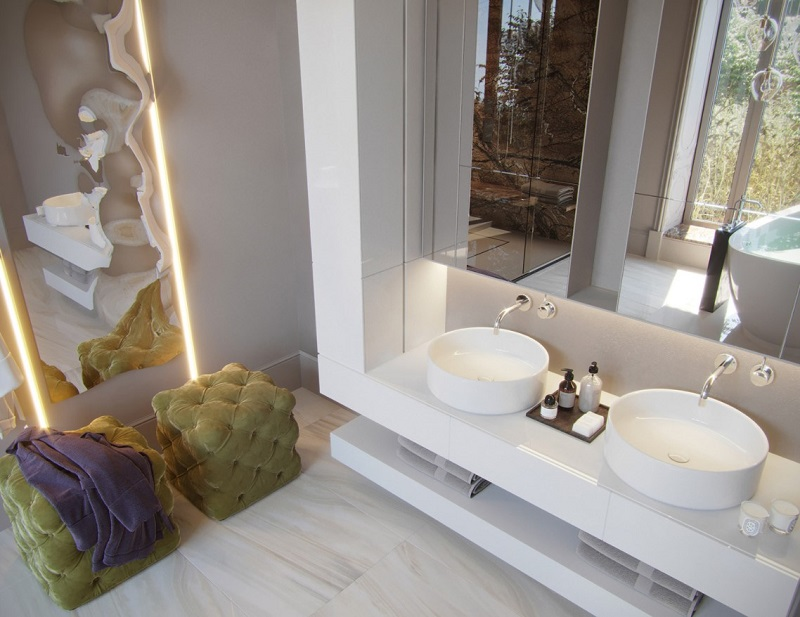 Thiết kế tủ lavabo đôi trong tắm đẹp cho biệt thự