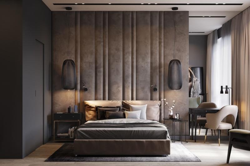 thiết kế nội thất phòng ngủ biệt thự tông màu trầm