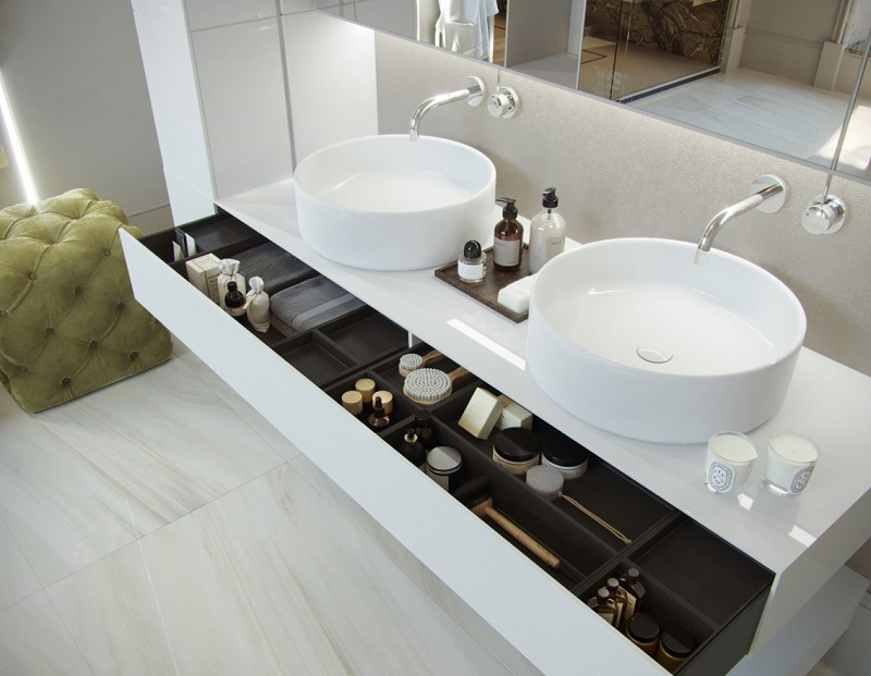 Kho lưu trữ tủ lavabo trong tắm đẹp cho biệt thự