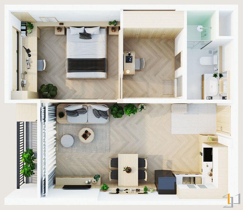 Thiết kế nội thất chung cư Vinhome 1PN 01