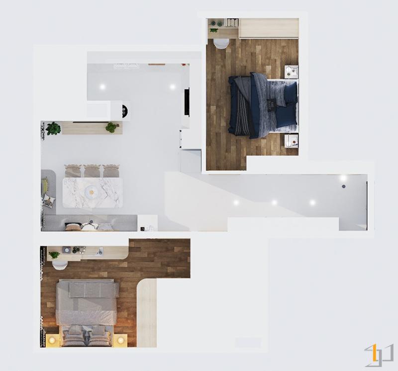 Mặt bằng bố trí nội thất căn hộ 2PN