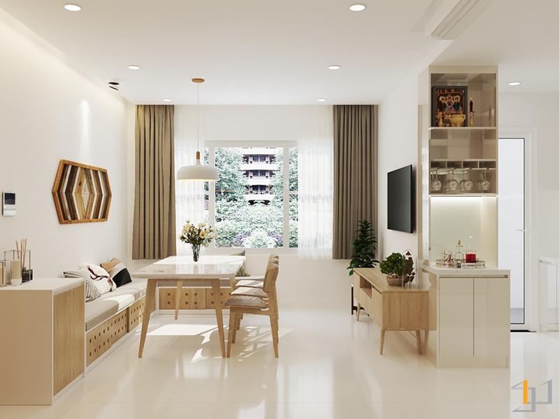 Thiết kế nội thất phòng khách ấm cúng và tiện nghi