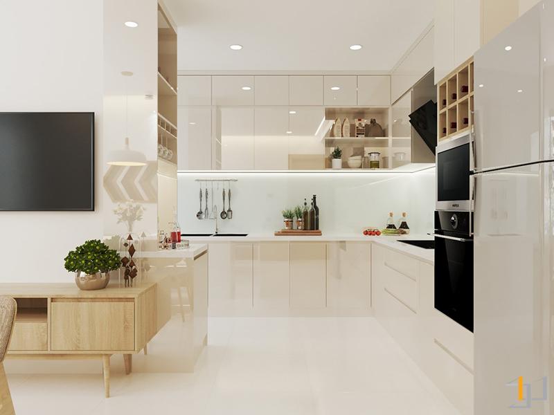 Thiết kế tủ bếp Acrylic hình chữ L đẹp