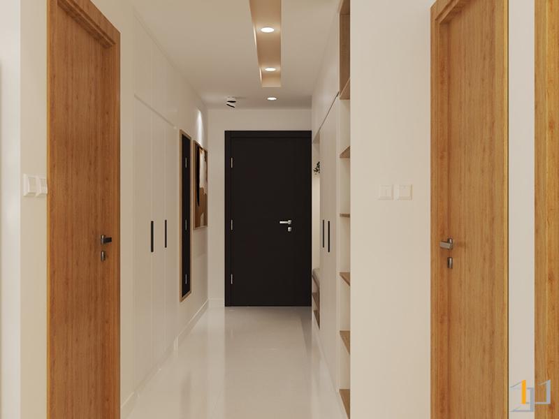 Thiết kế tủ âm tường tại hành lang giữa các phòng