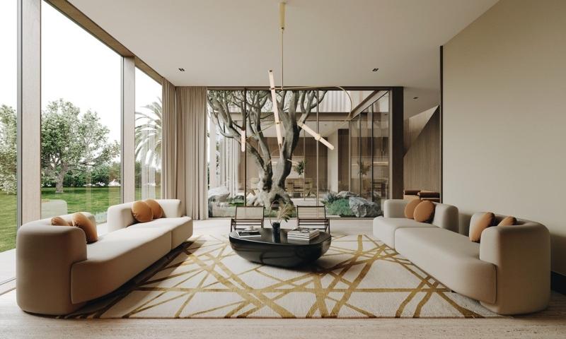Thiết kế nội thất phòng khách biệt thự tối giản
