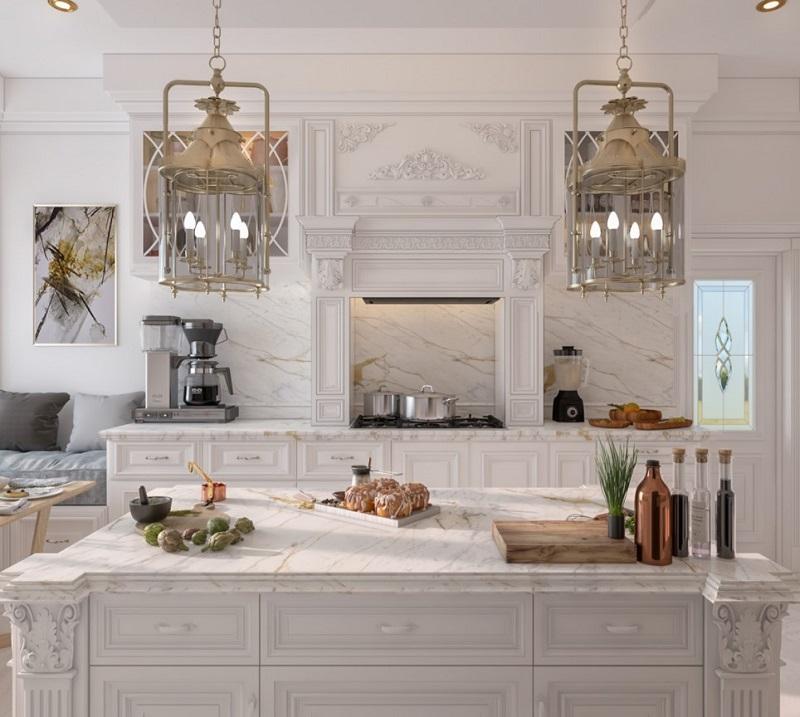 Đèn thả trần cổ điển trong phòng bếp biệt thự