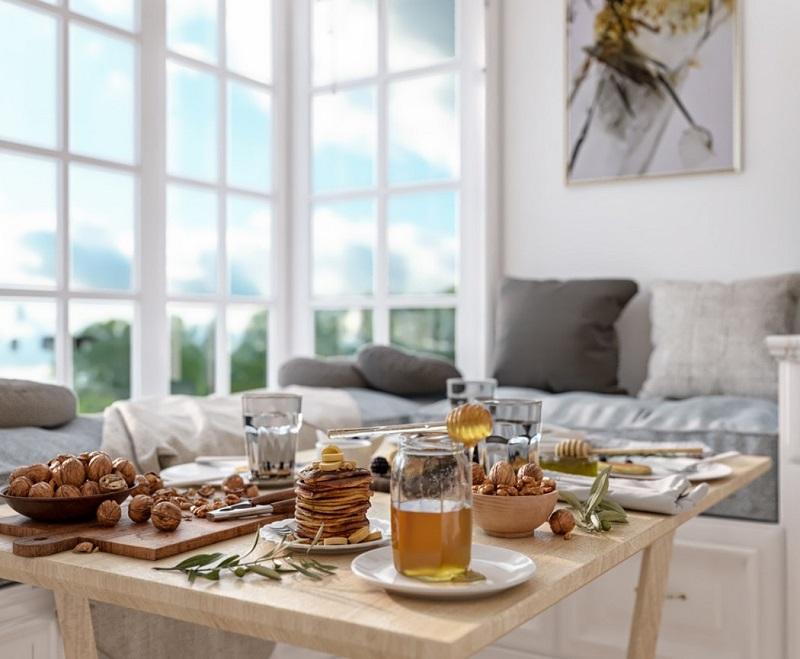 Góc trà chiều trong phòng bếp biệt thự cổ điển