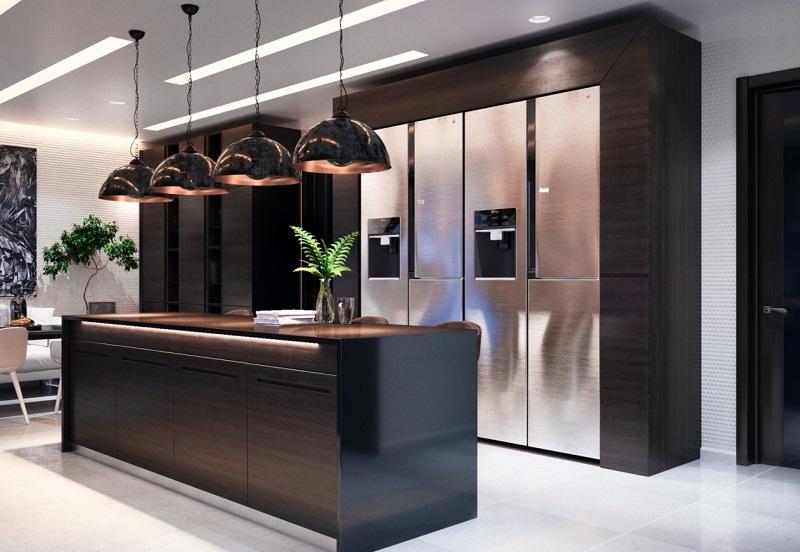 Tủ bếp song song trong thiết kế phòng bếp biệt thự
