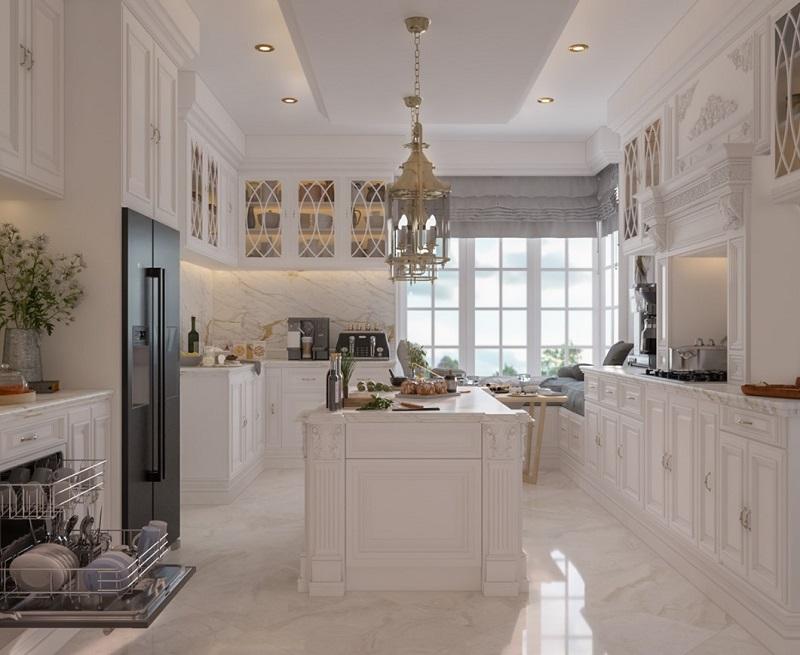 Thiết kế phòng bếp biệt thự cổ điển