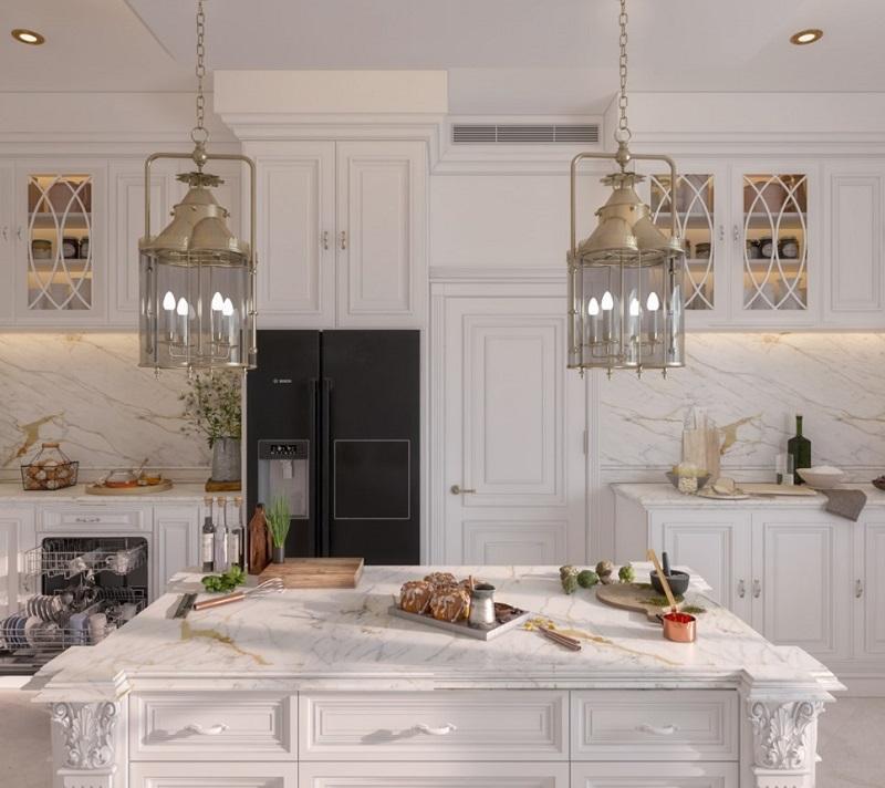 Phù điêu tinh xảo trong thiết kế phòng bếp biệt thự