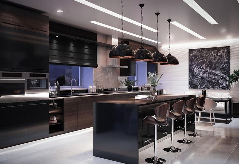 Phòng bếp biệt thự với tủ bếp song song