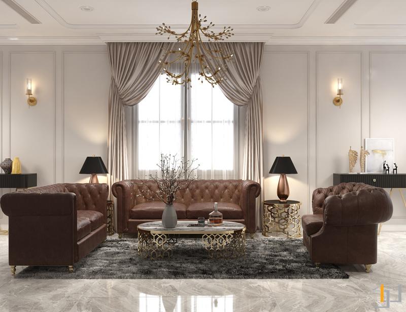 Tính đối xứng trong các mẫu phòng khách đẹp tân cổ điển
