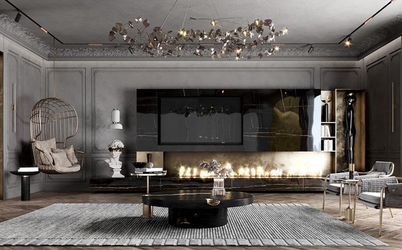 Phòng khách tiện nghi trong thiết kế nội thất biệt thự cổ điển