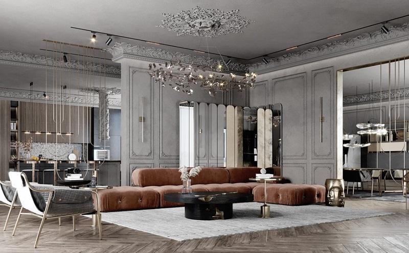 Sofa dài cho thiết kế nội thất biệt thự cổ điển