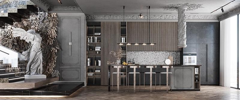 Tủ bếp độc đáo cho thiết kế nội thất phong cách cổ điển