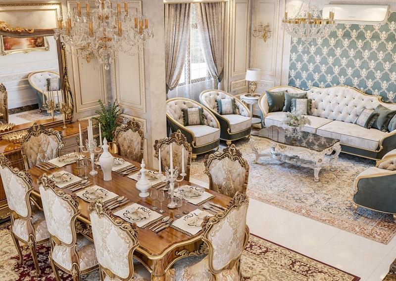 Thiết kế phòng ăn gồm bàn ăn và ghế dài nghỉ ngơi để mở rộng không gian