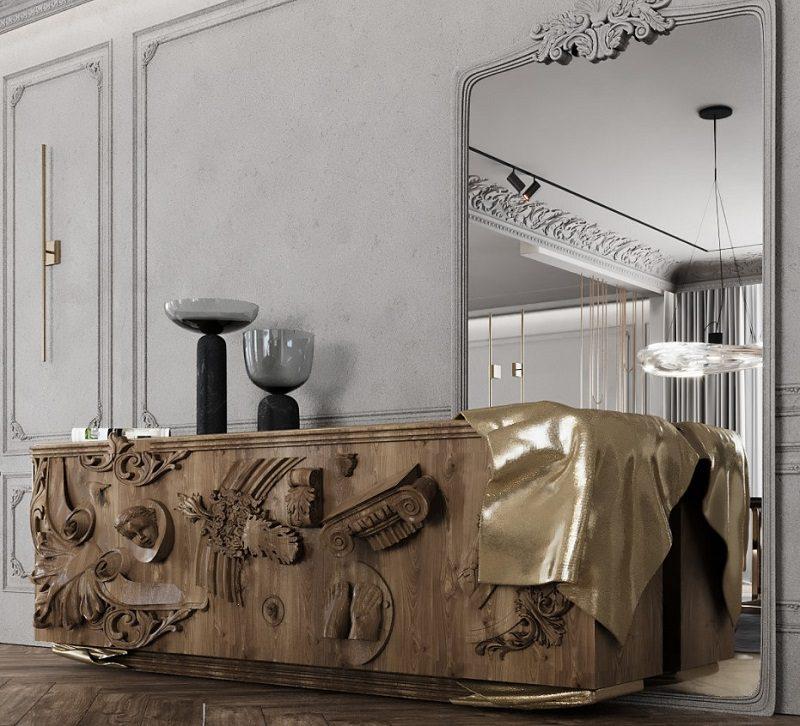 Bàn console trong thiết kế nội thất biệt thự cổ điển