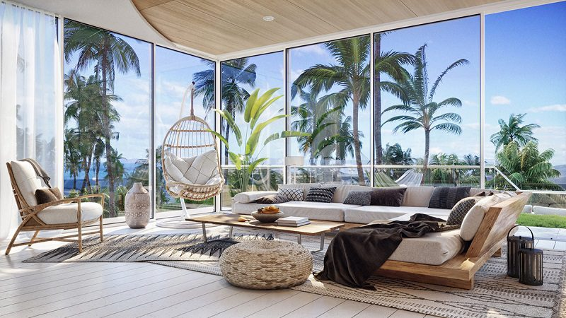 Phòng khách view biển trong thiết kế nội thất biệt thự hiện đại