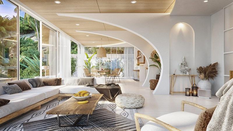 Sảnh phòng khách trong thiết kế nội thất biệt thự hiện đại