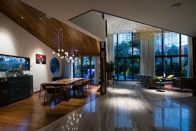 Không gian rộng trong sảnh phòng khách thiết kế nội thất biệt thự hiện đại