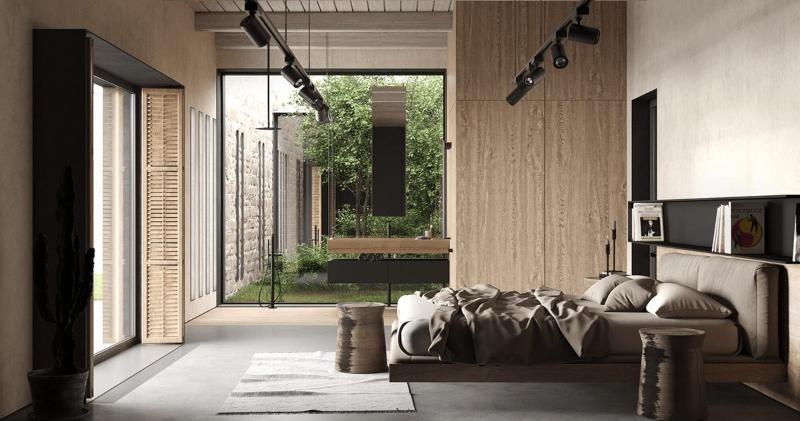 Phòng ngủ Master của biệt thự phong cách Rustic