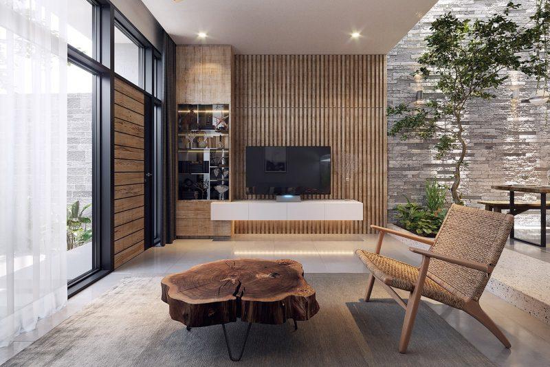 Sử dụng lam gỗ để ốp tường tivi