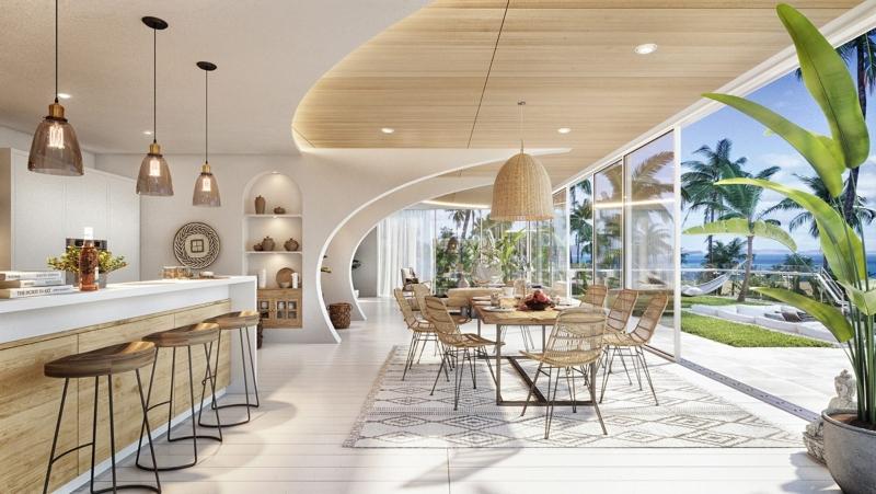 Gỗ là vật liệu chính cấu thành nên không gian bếp biệt thự đẹp
